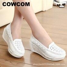 Cowcom drop sale primavera sapatos de plataforma de solas grossas das mulheres casual inclinação oco cabeça redonda inferior sapatos femininos verão