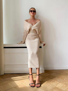 Skirt Suits Sweater Two-Piece-Set Cropped Knitted Autumn WOTWOY V-Neck Split And Sexy