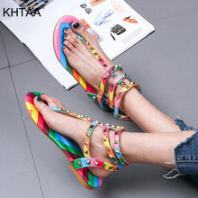 Women's Rivets Sandals Sweet Candy Color T Strap Rainbow Clip Toe Ankle Buckle Strap Comfortable Summer Woman Beach Shoes Female(China)