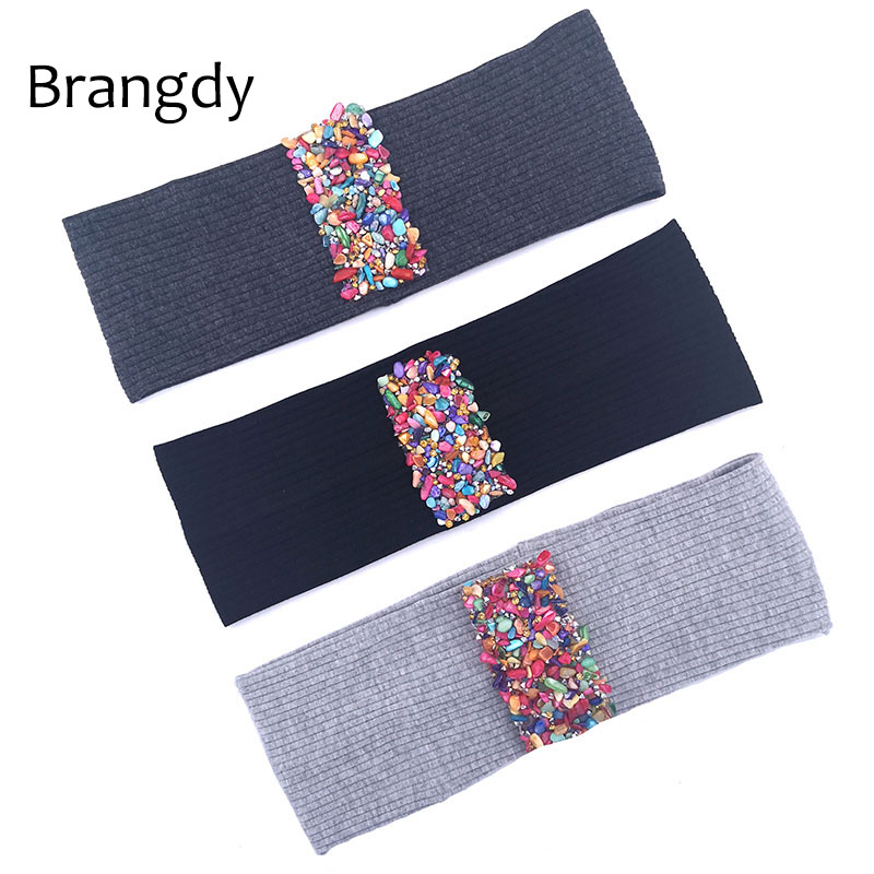 Woman Colorful Stones Ribbon Cotton Ribbed Headbands Head Warp Boho Soft Ladies Girls Elastic Bands Christmas Hair Accessories