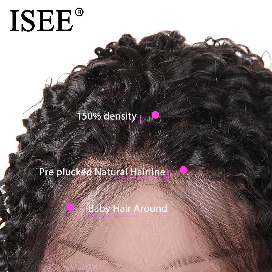 Pelucas de pelo humano corto rizado mongol para mujeres negras pelucas de cabello humano con encaje frontal ISEE pelucas de cabello Remy 150% Bob pelucas delanteras de encaje