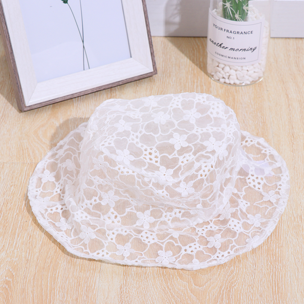 2020 New Lace Hat for Women Soft Lace Flower Wide Brim Sun Hats Floppy Hollow Summer Fisherman Hats Ladies Bucket Hat