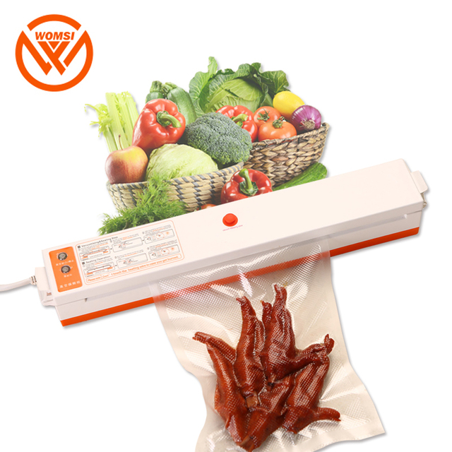 WOMSI מזון אוטם ואקום אריזה מכונה עם 15pcs שקיות משלוח ואקום מזון איטום מכונת ואקום אוטם פקר