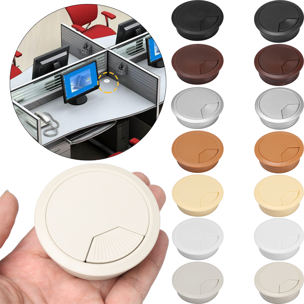 1Pc 60/80mm Plastic Round Desk Wire Hole Cover Base Computer Grommet Table Cable Outlet Port Surface Line Box Furniture Hardware
