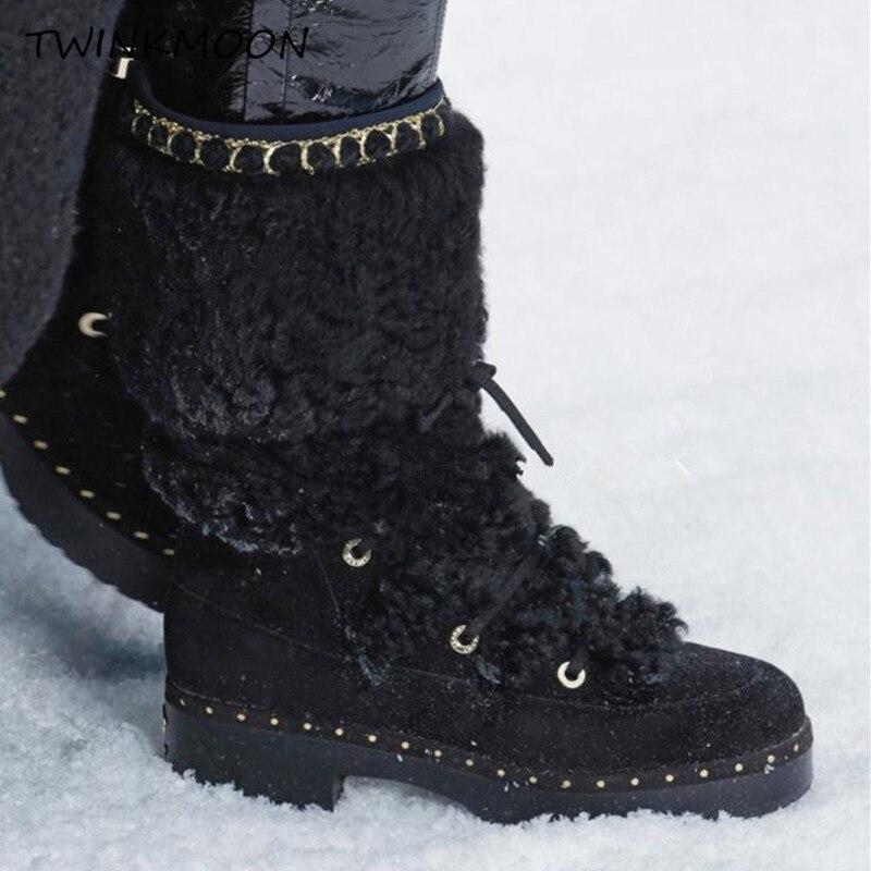 Bont Snowboots Vrouwen Winter Schoenen Flatform Lace Up Laarzen Pluche Chunky Lakleer Mid Calf Winter Laarzen Voor Vrouwen plus Size43 - 3