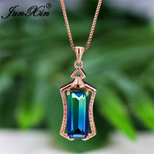 Geometric Two Tone Blue Green Pink Zircon Rectangle Pendant Necklaces For Women Rose Gold Chain Wedding Necklace Rainbow Jewelry(China)
