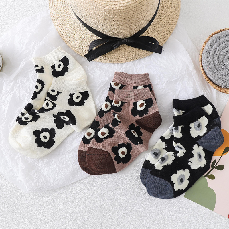 2020 Spring And Summer New Imitation Hand Combed Cotton Female Socks Boat Socks Poppy Tide Socks Flower Socks
