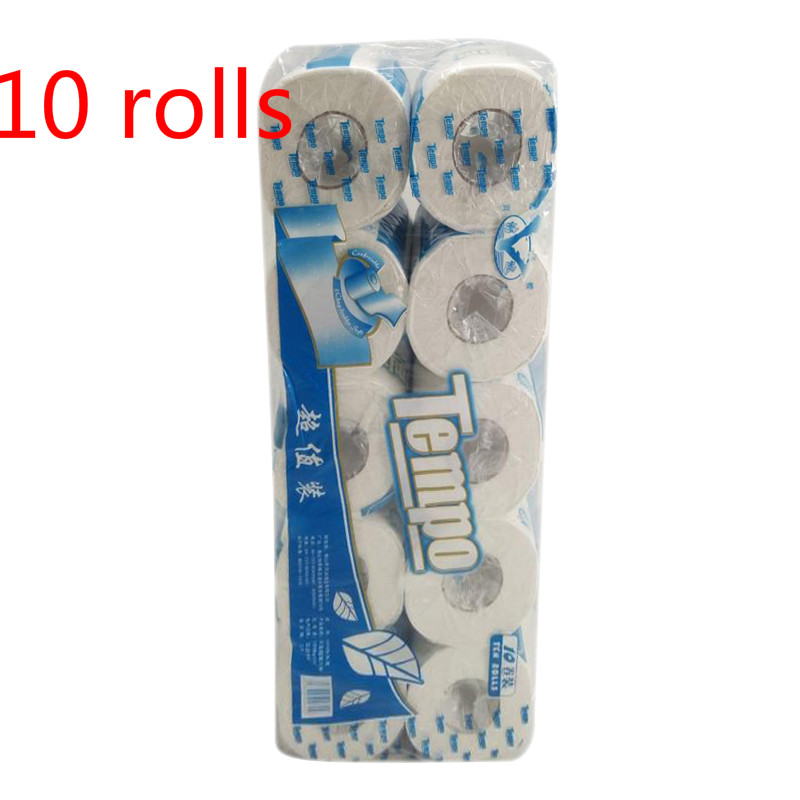 10 Rolls US White Toilet Paper Rolls Bath Tissue Bathroom Soft 3 Ply Household Cleaning Soft Skin-friendly Paper Roll Towels