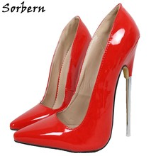 Sorbern 18CM Women Pumps Shoes Slip On Metal Heels Shoes Woman Pointed Toe Designer Shoes Women Luxury 2019 Party Pumps(China)