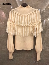 Tassel Sweaters 2020 Autumn Winter Fashion Knit Wear Women High Quality Knitting Long Sleeve Apricot Black White Casual Jumper