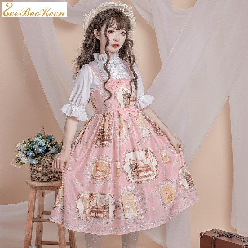 Взрослое платье лолиты розового/голубого цвета с принтом Jsk, платье на бретелях, рубашка, японское милое платье лолиты для девочек, аниме, косплей, костюм для женщин        АлиЭкспресс