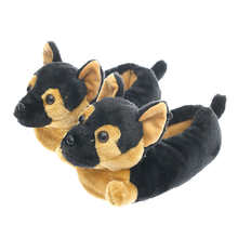 Millffy Classic German Shepherd Slippers – Plush Dog Animal Slippers Black and Tan Costume Footwear