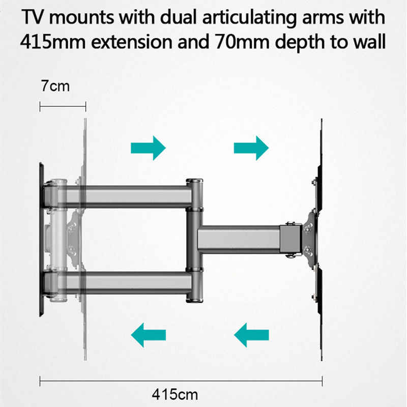 تلفزيون جدار جبل لمعظم 26-50 بوصة مع قطب تمديد 400 مللي متر قوس التلفزيون VESA 400x400 يناسب تلفزيونات تصل إلى 88lbs مع كابل HDMI مجاني