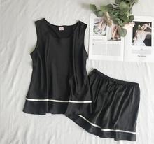 Feier Women Pajama Set Striped Modal Elegant Leisure Sleeveless Sleepwear Sets Pyjama Femme Faux Silk Sleep Wear for