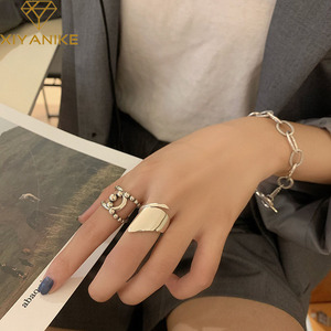 XIYANIKE 925 Sterling Silver Hot Sale Korean Retro Geometric Glossy Ring Female INS Trend Simple Index Finger Open Кольцо Gift