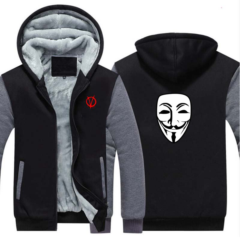 New V For Vendetta Thicken Hoodie Sweatshirts Cosplay Costume Anime Winter Warm Coat Hooded Men Adult Clothing