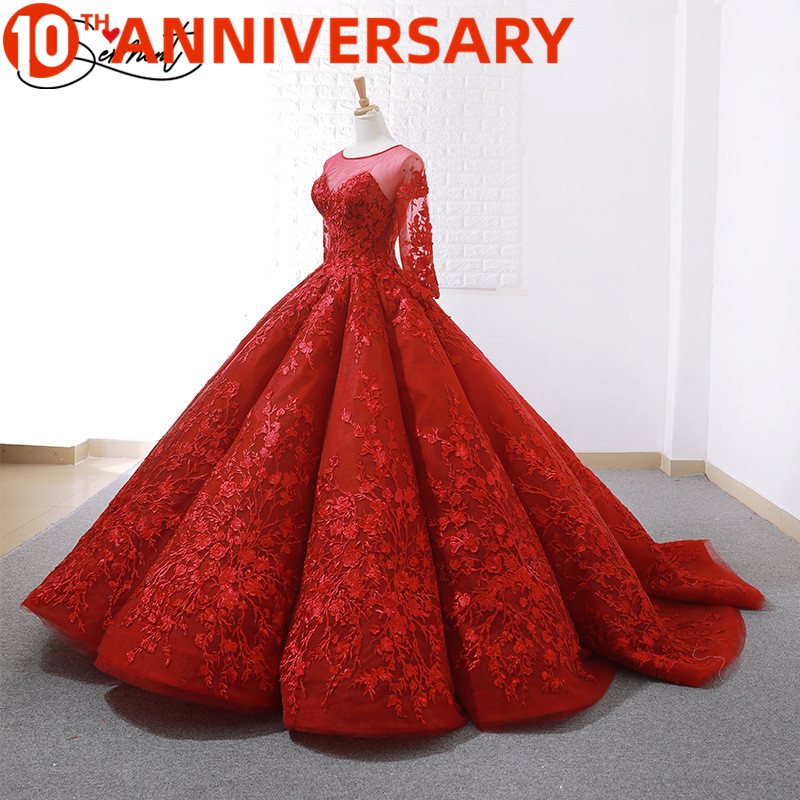 OllyMurs Luxury Red Wedding Dress 2019 New Spring And Summer Bride Wedding Toast Clothing Slim Sleeves Backless Dinner