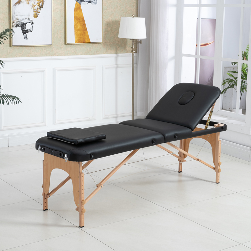 Adjustable Massage Bed 3 Fold Massage Couch Portable Salon Bed Alloy Spa Table With Square Pillow  Portable Backpack