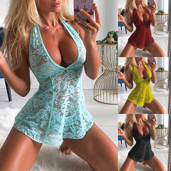 Erotic Sexy Lingerie Plus Size Women Erotic Dress Lace Deep V neck Bodycon Dresses Sleepwear Pajama Dress Sleeveless Bodycon image
