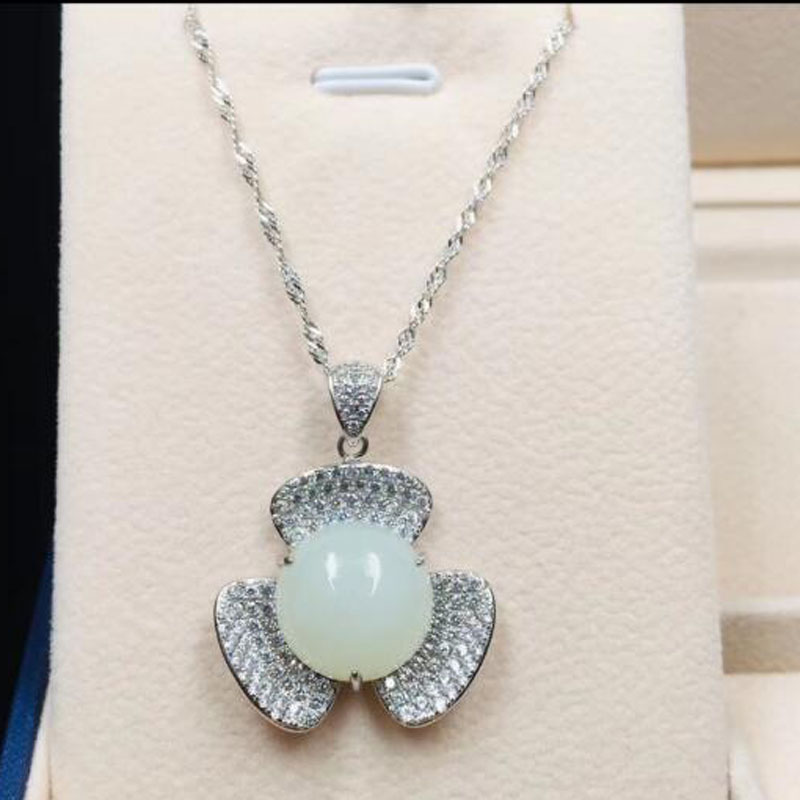 Natural Ice Chalcedony Safety Buckle Circle Pendant Jade Necklace Pendant Fathers Day Jewelry Pendant with Certificate