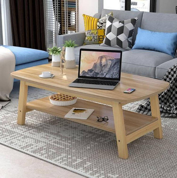 EU RU Free Shipping Wood Coffee Table Small Living Room Double Layer Tea Table Creative Rectangular Wooden Table Sofa Side Table