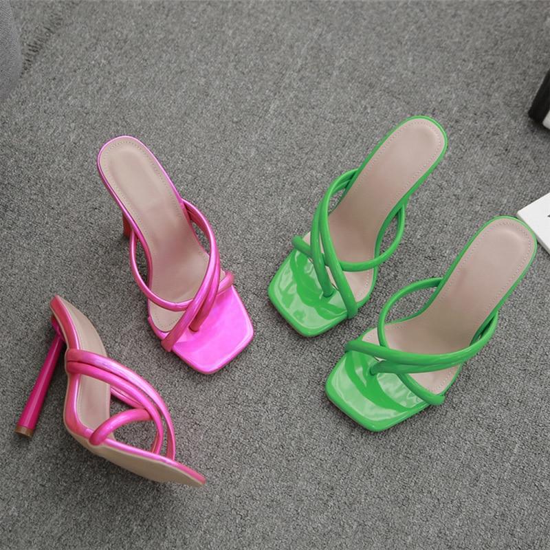 Fashion Slides Muller Women 11.5cm High Heels Fetish Summer Sandals Green Roman Heels Slippers Party Stripper Shoes Plus Size 42 1