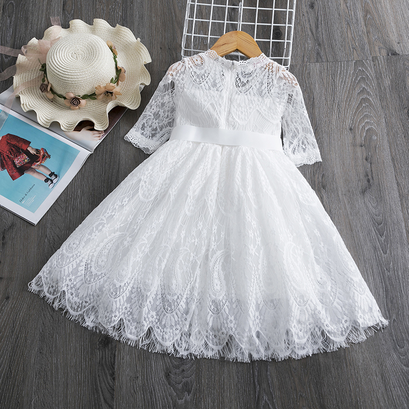 Girls Spring Dress Red Ceremony Dress Girls New Year Costume Lace Wedding Dress for Girls Elegant Party Gown Frocks Dresses 6