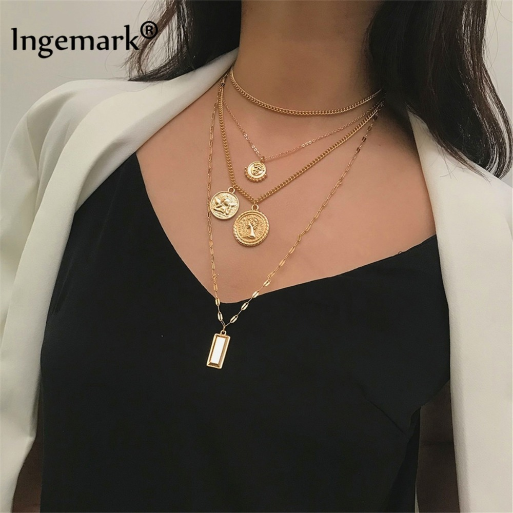 Ingemark Multilayer Carved Coin Choker Necklace Boho Vintage Alloy Beads Angel <font><b>Sun</b></font> Flower Pendant Long Necklace Women <font><b>Jewelry</b></font> image