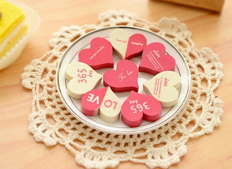 6pcs/pack Romantic Love Hearth Design Rubber Eraser Korea Style Stationery Material Escolar Kawaii School Supplies Borracha