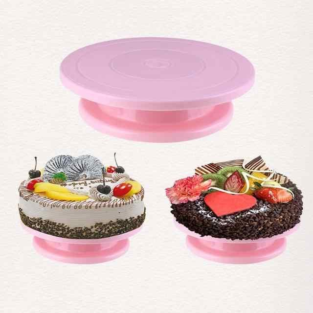 พลาสติกเค้ก Turntable Anti-Skid เค้กเค้กตกแต่งตารางโรตารี่ครัว DIY PAN Baking TOOL