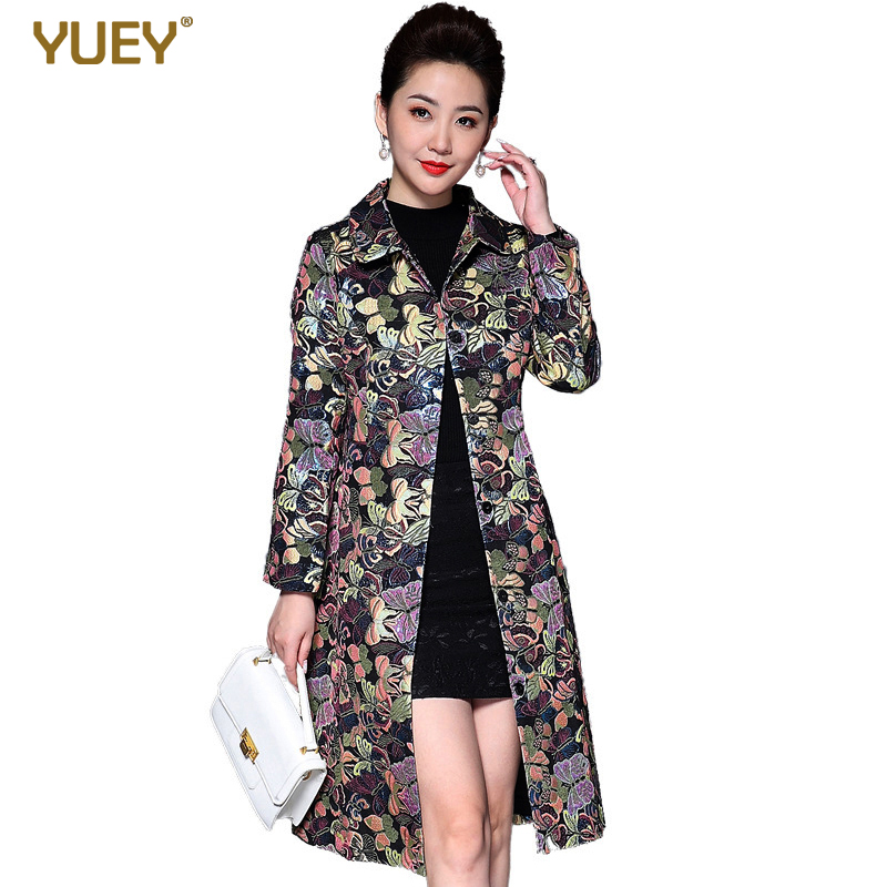 2019 New Women Long Coat For Autumn Winter Clothing Trench Fashion Floral Print Windbreaker Jacquard Embroidery Coat Plus Size