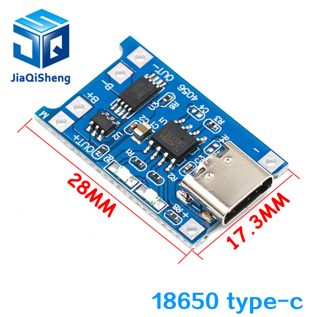 type-c / Micro USB 5V 1A 18650 TP4056 Lithium Battery Charger Module Charging Board With Protection Dual Functions 1A Li-ion 2