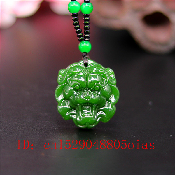 Chinese Natural Black Jade Lion Head Pendant Hand-Carved Jewellery Amulet Gifts