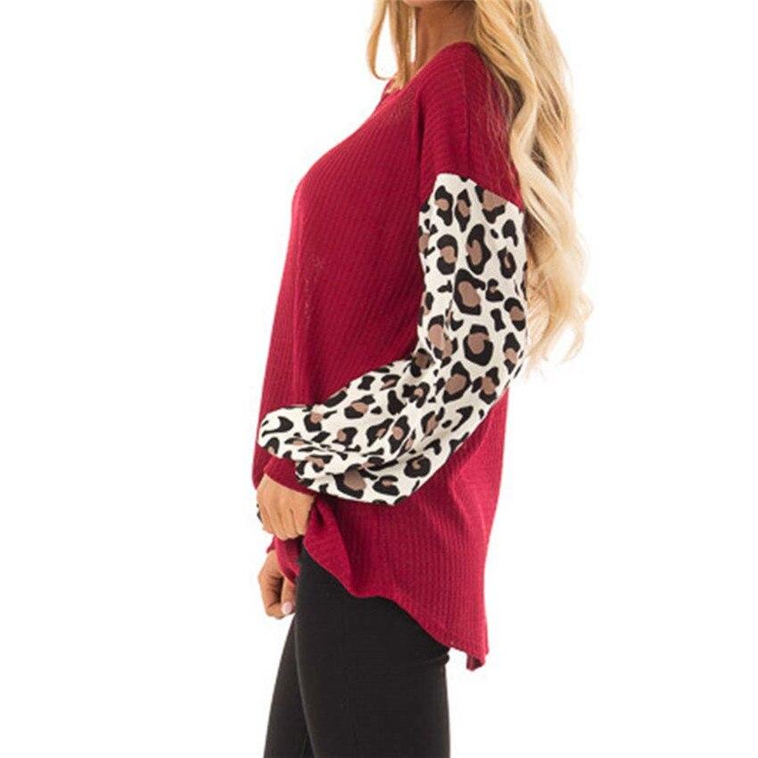 Женский свитер, Осень-зима, вязаные свитера, 2019, Леопардовый топ с рукавами, повседневный свободный свитер, 3XL, Топ с длинным рукавом, женская ...