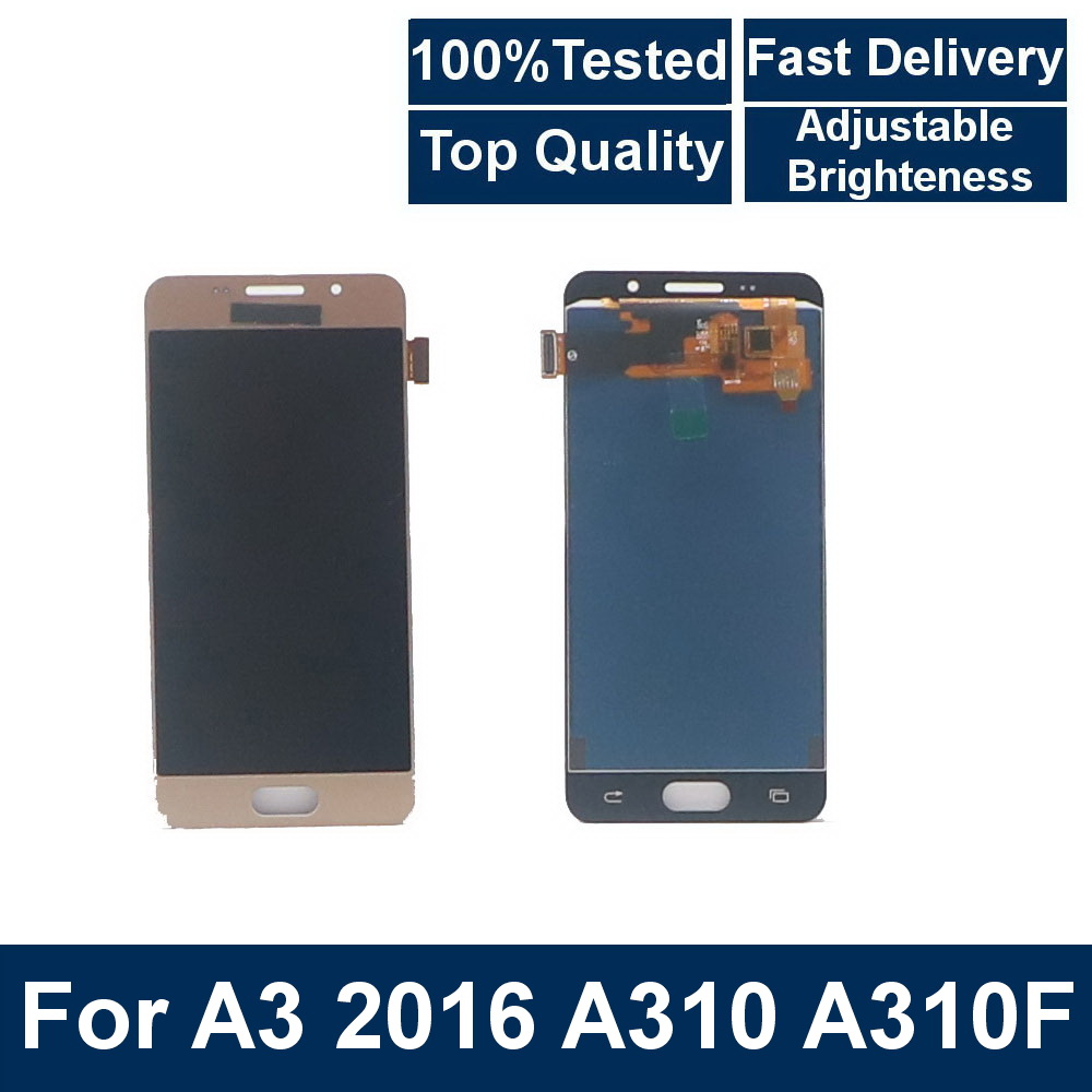 100% Tested For <font><b>Samsung</b></font> Galaxy A3 2016 A310 <font><b>A310F</b></font> A310H A310 LCD <font><b>Display</b></font> Touch <font><b>Screen</b></font> Digitizer Assembly With brightness control image