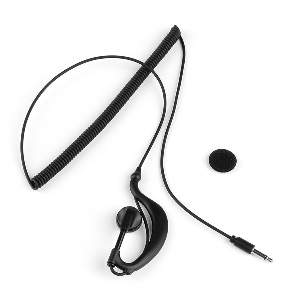 3.5mm Curved Mono Earphone Listen Only Earpiece For Speaker Mic For 2way Radio Durable Ear-hook Earphone In-ear Wired Earphone