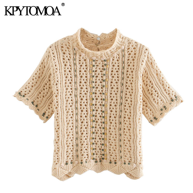 KPYTOMOA Women 2020 Fashion Ruffled Crochet Knitted Blouses Vintage Short Sleeve Hollow Out Female Shirts Blusas Chic Tops