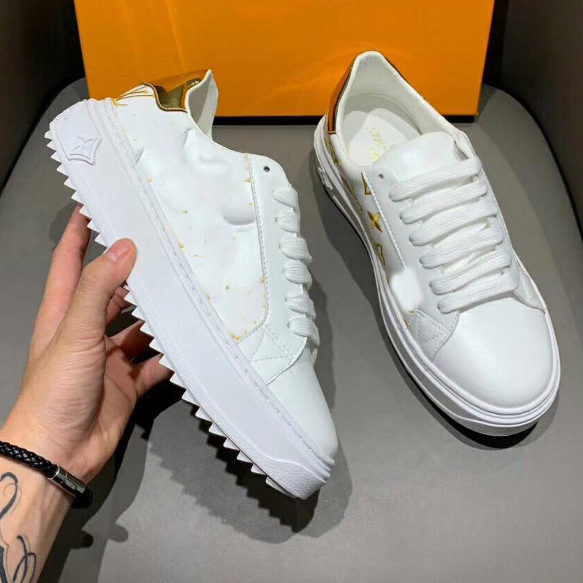 2019 AUTUMN WINTER Classic Thick Heel White Women Shoes Genuine Leather Trendy Sneakers Women Casual Shoes CC13
