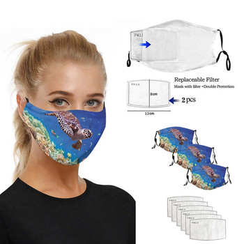 3pcs adult universal turtle print dustproof washable face mask for men and women reusable mascara reusable ear-hook mask image