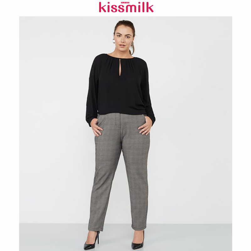 KISSMILK 2020 Spring And Summer New Fashion Women's Solid Color Large Size Slim European And American Check Pencil Pants