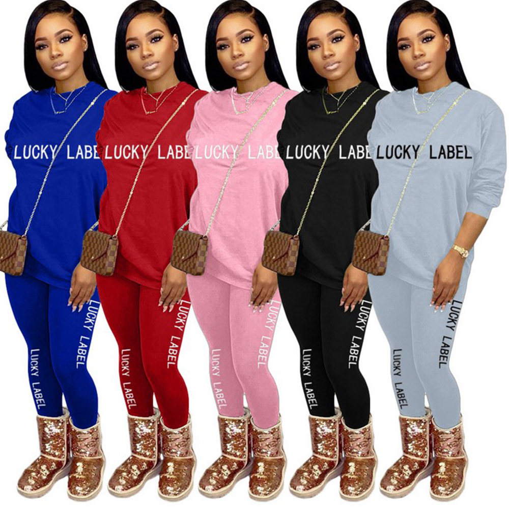 Lady Two Piece Set Women Fashion Letter Print Bodycon Tracksuit Long Sleeve Top + Biker Joggers Pants Outfits Matching Set