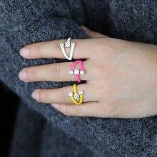 Gold Farbe Regenbogen Ring Für Frauen Weiß Schwarz Rosa Gelb Grün Blau Orangle 7 Bunte Finger Band Ringe