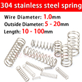 304 Stainless Steel Compression Spring, Return Spring, Steel Wire Diameter 1.0mm Outside Diameter 5~20mm 10 Pcs