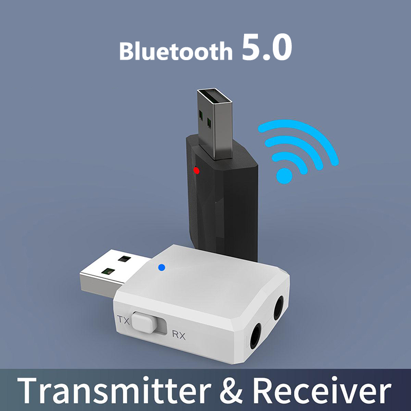 3 IN 1 Bluetooth Adapter 5.0 USB Dongle For Computer Audio Transmitter and Receiver Wireless Adapter With 3.5mm AUX Jack image