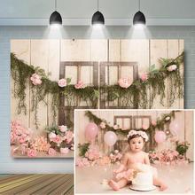 Fondali fotografia floreale neonato cornice porta in legno con fiori rosa in fiore sfondo 1 ° compleanno torta Smash sfondo