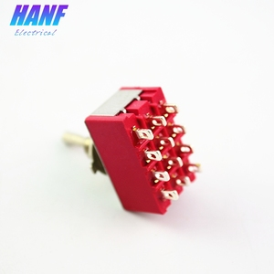 Image 1 - 5pcs 6A/125VAC 2A/250VAC 12Pins 4PDT ON/ON 2 Positions Mini MTS 402 Toggle Switch Red