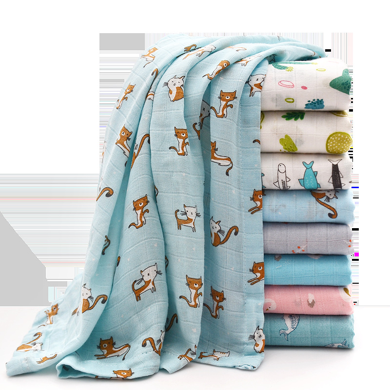 1pcs Newborn Baby Swaddles Muslin Soft Cotton Blankets Cute Cartoon Printed Bath Gauze Toddler Infant Wrap Sleepping Play Mat