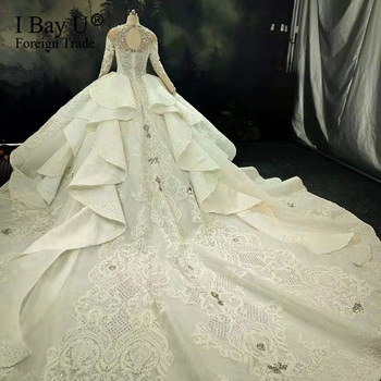 100% Real Pic Luxury Bling 3D Stones Wedding Dress  Long  Sleeves 2020 Crystal Ball Gown Puffy 180cm Train