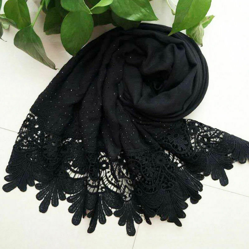 Floral Lace Trims   Scarves     Scarf     Wraps   Womens Lady Lightweight   Scarf   Cotton Lace Flower Shawl Long New Soft   Wrap   Autumn Winter