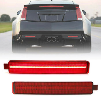 2Pcs Red Lens LED Rear Bumper Reflector Light for 2008-2013 Cadillac CTS CTS-V image
